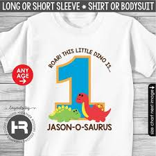 Roar Shirt Size Chart Roar Dinosaur Birthday Shirt Or Bodysuit Made For Any Age Personalized With Childs Age And Name