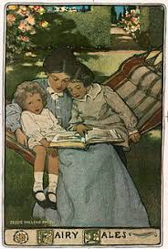 a mother reads to her children depicted by jessie will smith in a cover ilration of a volume of fairy tales written in the mid to late 19th century