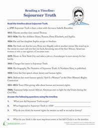sojourner truth timeline comprehension worksheets timeline and  sojourner truth timeline