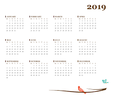Calender Yearly 2019 Yearly Calendar Mon Sun