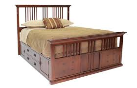 San Mateo Bedroom Furniture San Mateo Oak Queen Spindle Captains Bed Mor Furniture For Less