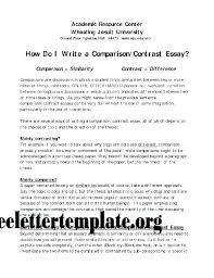 Contrasting Essay Compare Contrast Essay Compare Contrast Essay Rough Draft