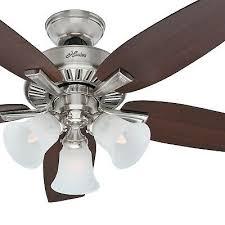 hunter fan 46 in brushed nickel finish ceiling fan w light kit remote control