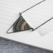 small silver geometric triangle necklace