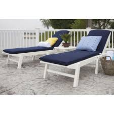 patio furniture white. Nautical White 3-Piece Plastic Patio Chaise Set With Sunbrella White/Navy Cushions Furniture R