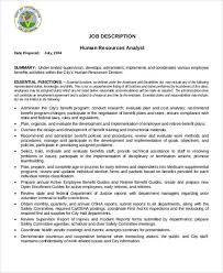 human resource management analyst job description benefits analyst job description