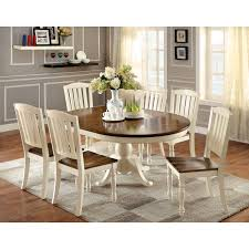 Round Country Kitchen Table Bordeaux 7 Piece Round Dining Room Furniture Set Duggspace