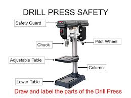 drill press parts. 7 drill press safety safety guard chuck adjustable table lower pilot wheel column draw and label the parts of drill press