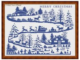 Merry Christmas Cross Stitch Pattern Counted Chart Easy To Follow For Beginner Modern Xstitch Santa Unique Design One Color Pdf