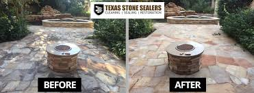 stone patio firepit with mold mildew before after