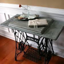 sewing machine table cottage chic beach house grey blue entryway school desk singer treadle farmhouse rustic