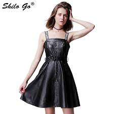 shilo go leather overalls dress autumn fashion sheepskin genuine leather dress letter print spaghetti strap single ted