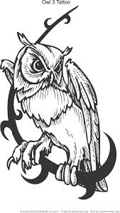 Owl 3 Tattoo Design Coloring Page