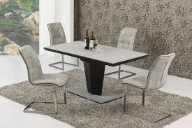 extending large grey stone effect glass dining table and 6 chairs set
