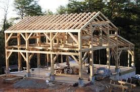 timber frame work being built