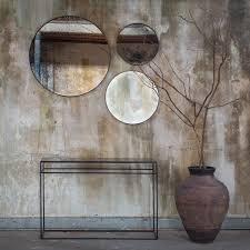 bronze light aged wooden frame round mirror 48cm