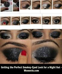 step by step black shimmer smoky eye makeup tutorial