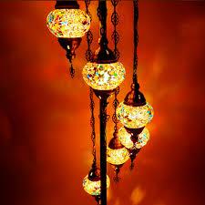 Oosterse Vloerlamp Mozaïek 7 Bollen Meerkleurig Design H160cm