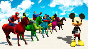 learn colors with horse colours and superheroes cartoon 3d video for children