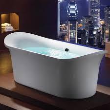 EAGO AM1900 74 3/4 Inch White Free Standing Air Bubble Bathtub - Luxury  Freestanding Tubs
