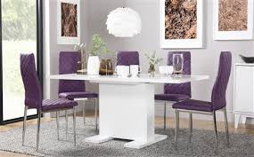 osaka white high gloss extending dining table with 6 renzo purple chairs chrome legs
