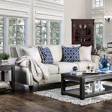 Furniture of America Ferisen Contemporary Linen like Sofa Free
