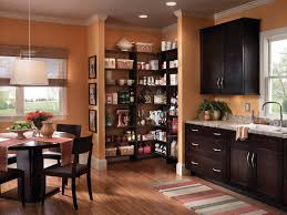 Walk In Kitchen Pantry Awesome Orange Wooden Style Corner Walk In Pantry Shelves Design