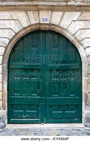 painted double front door. Paris France Picturesque Arched Antique Double Front Entry Door, Painted Teal Blue Green. - Door D