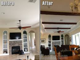 faux ceiling beams diy. Modren Ceiling Before And After Shot Of A Living Roomu0027s Plain White Ceiling Updated With  Faux Timber Beams To Faux Ceiling Beams Diy M