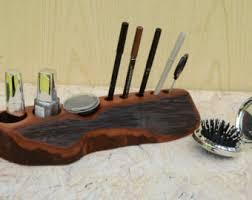makeup organizer wood. valentines day gift, rustic handmade cosmetic organizer, wooden makeup wood organizer