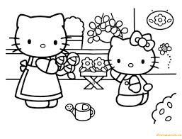 Print free hello kitty coloring sheets and her friends for coloring. Hello Kitty And Her Mother Care Flower Coloring Pages Cartoons Coloring Pages Free Printable Coloring Pages Online