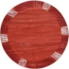 unique loom del mar rust red 6 x 6 round rug