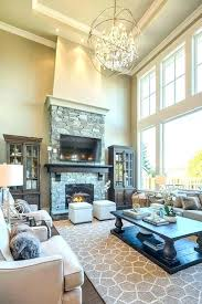 two story great room decoration great room chandelier rustic fireplaces pictures with two story great room
