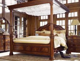 King Size Canopy Bed Frame Solid Wood