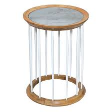 round accent table with mirrored top on spindle frame base for