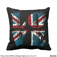 union jack love in antique type throw pillow