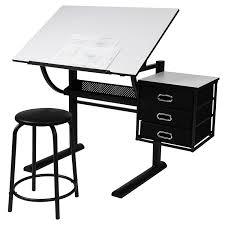 Miadomodo Bureau Table Dessin Avec Tabouret Plateau