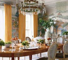 thefoodogatemyhomework eye popping dining room with hand painted chinoise mural wallpaper and marigold ds definitely a statement and that statement