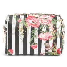 yoki bags stripe fl cosmetics bag