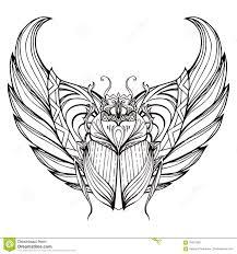 скарабей нарисованный рукой винтажный с крылами иллюстрация вектора