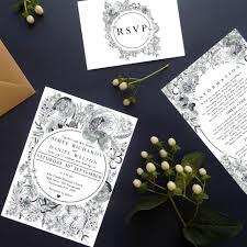 Black And White Invitation Paper Monochrome Floral Black And White Wedding Invitation Suite
