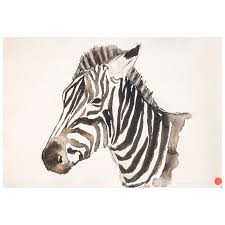 21st century black and white watercolor zebra portrait chinese author signed for at 1stdibs