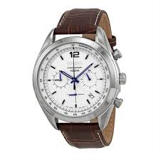 seiko chronograph leather strap white dial stainless steel men s watch image 0