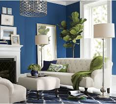 blue and green living room