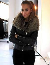 jacket coat leather black fur cool beautiful girl smile brunette leather jacket black leather jacket leather jacket with fur fashion jeans