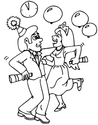 Small Picture Printable New Years Coloring Page dancing at party