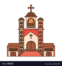 Front Church Design Church With Front View Isolated Icon