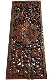asiana home decor large carved wood wall panel floral wood carved wall decor size on tiki wood wall art with amazon jubilant thai elephant duo hand carved teak wood wall