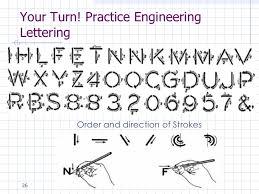 engineering lettering engineering drawing