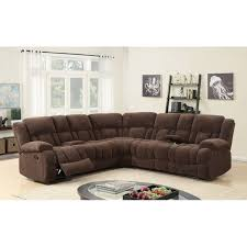 Best Quality Furniture 3 piece Brown Velvet Recliner Sectional